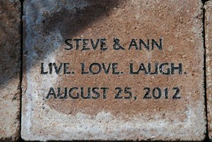 Live Love Laugh - inscribed paver on the Botanical Garden terrace